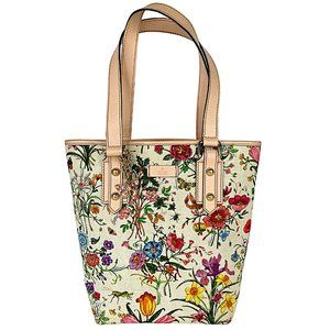 Gucci Flora Botanical Floral Print Coated Canvas Tattoo Bucket Tote